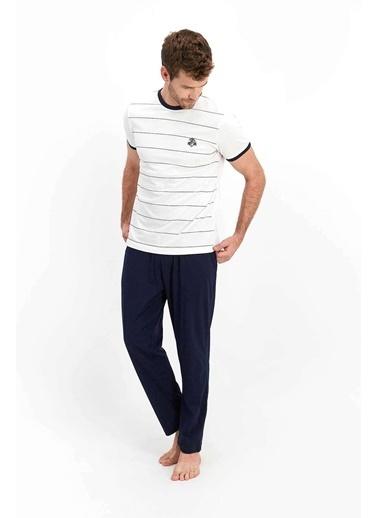 Arnetta Basic Krem Erkek Kısa Kol Pijama Takımı Krem